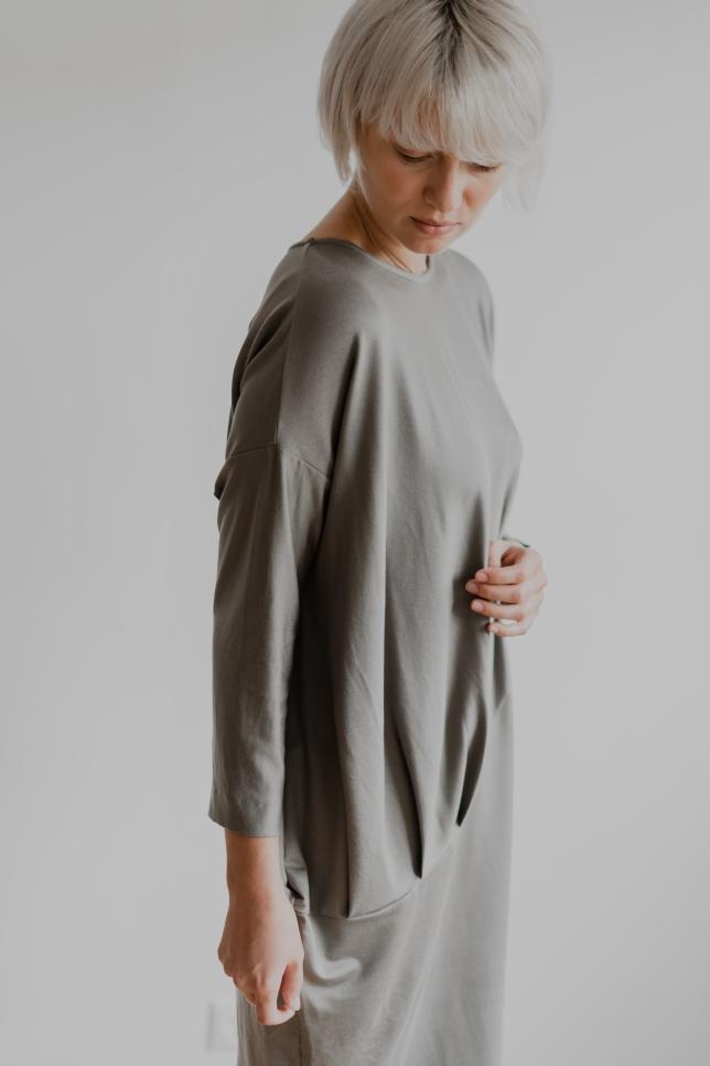 Dress Draped Taupe